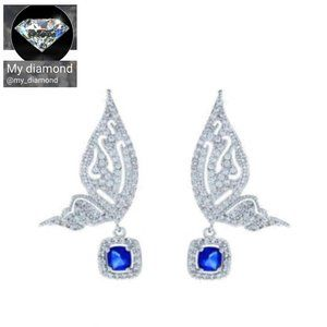 S925 Swarovski Crystals Blue Butterfly Earrings